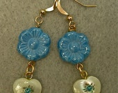Vintage Mother of Pearl Heart Japanese Flower Tensha Bead Earrings ,Blue Glass Flower