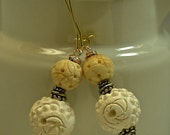 Vintage Chinese Carved Ivory Bone Flower Bead Earrings,Gold Kidney Ear Wires