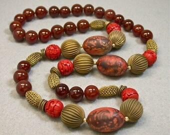 Vintage Carnelian Red Hand Knotted Bead Necklace ,Vintage Chinese Red Cinnabar, Vintage Japanese Lucite Beads, Vintage Raw Brass Beads
