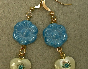 Vintage Japanese Tensha Bead Blue Flower Dangle Drop Earrings Mother of Pearl Heart, Vintage German Blue Glass Flower Bead