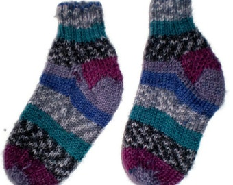 Baby Socks - Hand Knit Multi-Colored, Brightly Striped Baby Socks