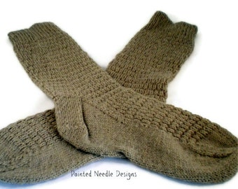 Socks - Hand Knit Women's Tan Socks with Ribbed Pattern - Size 7-8.5
