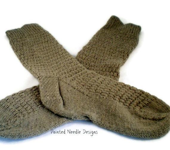 Socks - Hand Knit Women's Tan Socks with Ribbed Pattern - Size 7-8.5