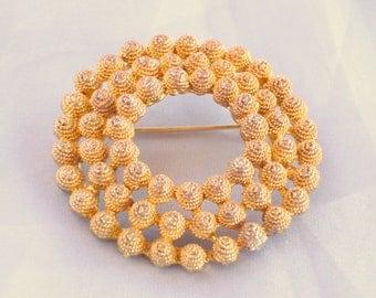 Vintage Knobby Circle Brooch Pin Textured Goldtone