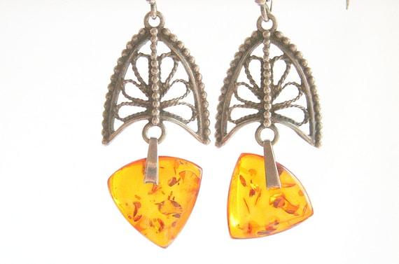 Vintage Genuine Amber Pierced  Earrings Sterling Filigree Dangle Drops