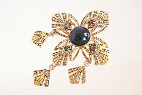 Vintage Maltese Cross Brooch Art Deco Gold Marcasite Style Rhinestones Dangles