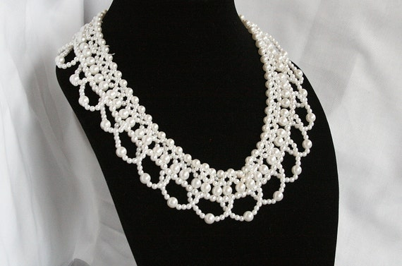 Pearl Collar Bib Necklace Vintage Scalloped Draped Faux Pearl Rhinestone Clasp Bride Wedding