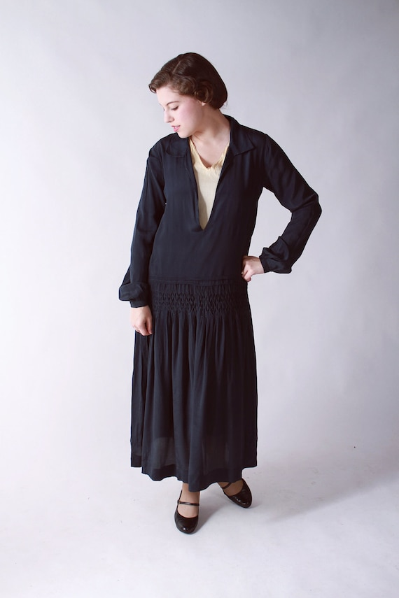 Vintage 1920s Dress // Ultra Sheer Navy Blue Silk Chiffon Dress with Smocked Drop Waist