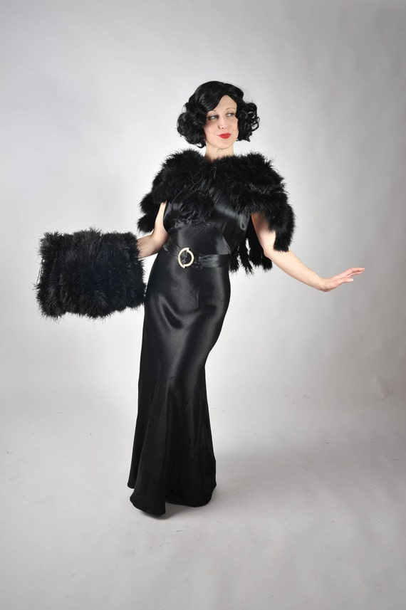 Vintage 1930s Ostrich Cape and Muff - Fantastic Deco Era Black Ostrich Fringe Cape with Massive Matching Muff