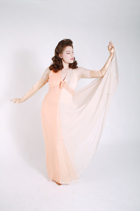 Vintage 1970s Dress - Gorgeous Two Tone 40s Inspired Silk Chiffon Goddess Gown