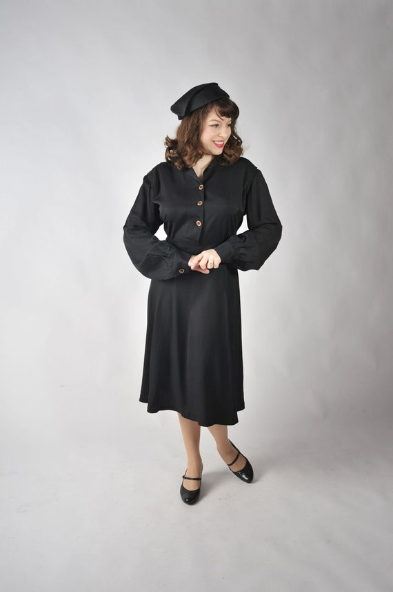 Vintage 1940s Dress -  Sophisticated Black Gabardine Day Dress with Celluloid Buttons