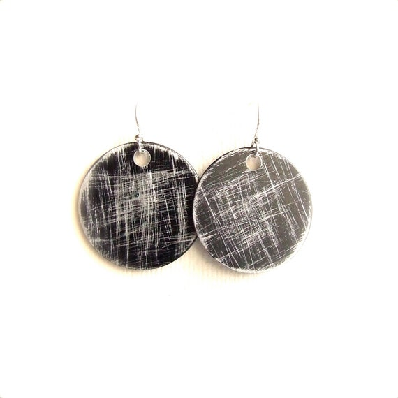 Black Round Dangle Drop Earrings Silver Grey Textured Rustic Sterling Silver Circle Crosshatch
