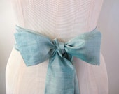 Shantung Silk Sash Bow Belt in Sea Green by ccdoodle on etsy - made to order - limited