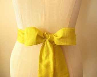 Yellow Sash Dupioni Silk Many Colors Available by ccdoodle on etsy - made to order