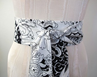 Black and White Obi Belt Retro Floral Paisley Print Vintage Fabric - made to order