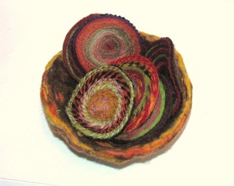 Needle Felted Bowl and Coasters in Autumn Colors