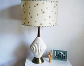 Vintage Gold and White Mid Century Table Lamp with Shade