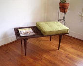 George Nelson Inspired Mid Century Vintage Slated Bench with Chartreuse Cushion