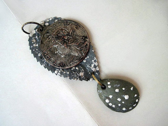 Warrior. Victorian Tribal Rustic Antique Medal Pendant. Grey Gray.