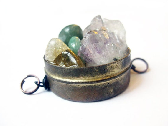 Specimen. Amethyst Citrine and Jade Assemblage Pendant. Vintage Recycled Found Object Gemstone and Resin.