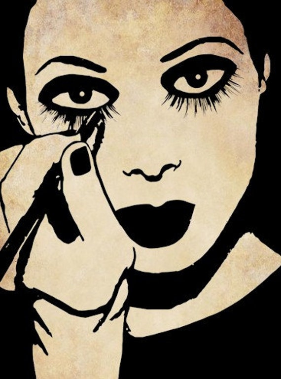 Makeup Clip Art: Mime Woman Putting On Makeup Clip Art Stamp By