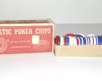 Vintage Poker Chips - Poker Chips in Original Box - Red White Blue Poker Chips - Plastic Poker Chips - Poker Game Chips