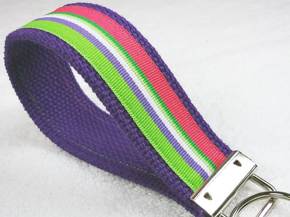 Keychain Wristlet Keyfob Keylette Key Ring - Keys Stripes Striped Grosgrain Ribbon Webbing Purple Green Pink - Porte-clés - Ready to ship