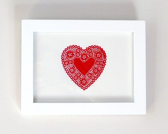 Lace Heart Letterpress Print Red 5x7 LAST ONE