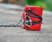 MiniatureBook Necklace Heart Lock & Vintage Red leather