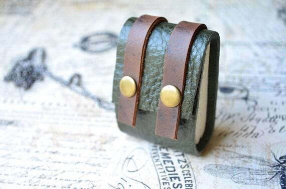 MiNiBook Vintage Backpack Necklace Olive Green Color