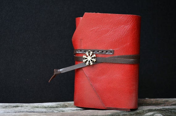 MiniBook A7 Snowflake & Maroon Red Leather