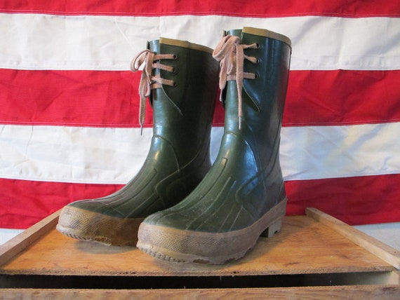Vintage Army Green Insulated Rubber Work Boots Rain Boots Mens