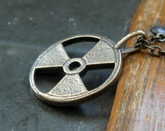 Two for One Sale...Trefoil Necklace Radioactive Symbol Pendant Necklace in Solid Bronze Trefoil 117
