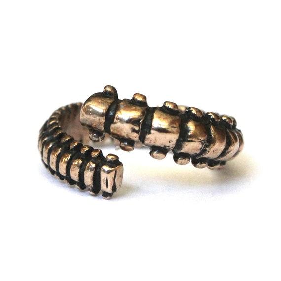 Human Vertebrae Ring in Solid Bronze Adjustable Spine Ring 170