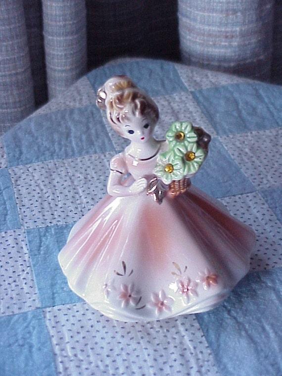 Vintage--Josef Originals--NOVEMBER Birthstone Birthday Girl--Figurine--Topaz
