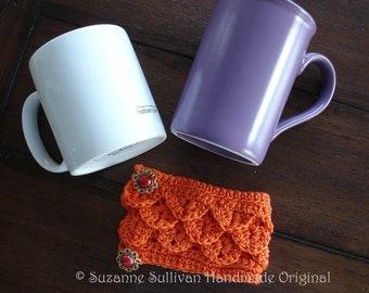 Coffee Cup Cozy, Bright Orange, Crocodile Stitch Cozy, Button closure