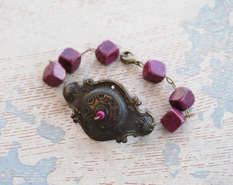 Turquoise Bracelet - Antique Hardware and Purple Turquoise - Antique Hardware Collection