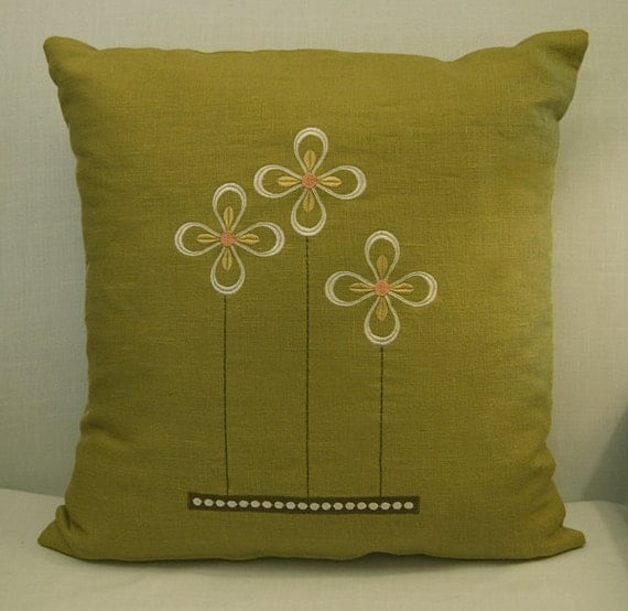 ON SALE - Embroidered Prairie Flower 16x16 cilantro green linen pillow cover arts and crafts style