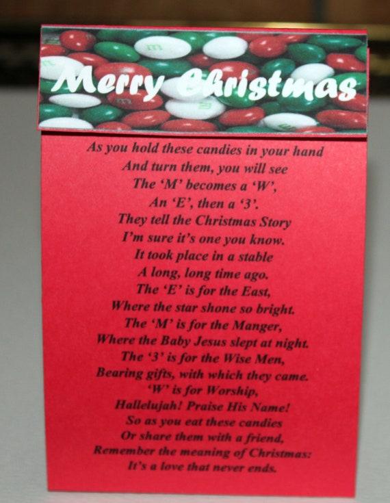 M & M's Christmas Poem Treat Bags Set of 6 FREE