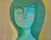 print girl green portrait