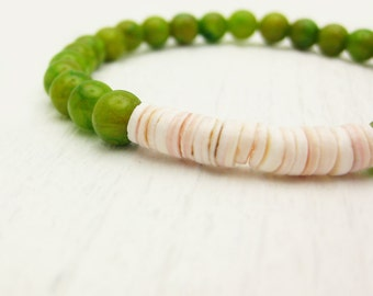 Green Jade W/ Heishi Shell Stacking  Bracelet / pink peach ivory avocado green lime chartreuse / tribal bohemian bright color block