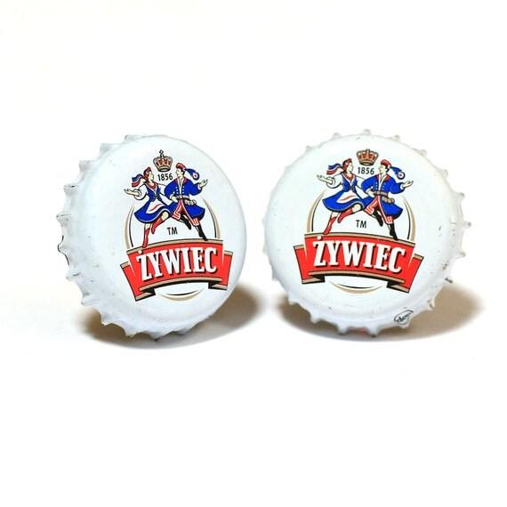 White Zywiec Polish Bottle Cap Cuff Links