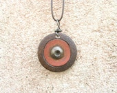 Found Object Jewelry, Steam Punk Necklace - found objects, rusty, pink, silver