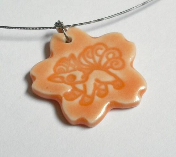 pokemon vulpix orange porcelain pendant necklace