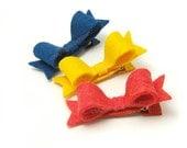 Mini Felt Bows for Girls, Set of 3 Felt Hair Clips, 2 inch Felt Hair Bows with Tails, Summer Fruit, Blueberry, Banana, Strawberry