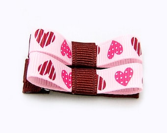 Raspberry Pink Hearts Tuxedo Bows, Heart Bows, Heart Hair Clips, Baby, Toddler, Girls