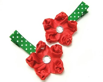 Red Satin Flower Clips, Red, Green, White Polka Dots, Baby Toddler Girl, Red Flower Hair Clip, Holiday Hair Clips