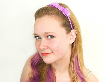 Purple Bow Headband, Purple Satin Headband, Triple Bow Headband, Satin Bow Headband, Grape, Dark Orchid, Sheer Purple Bow