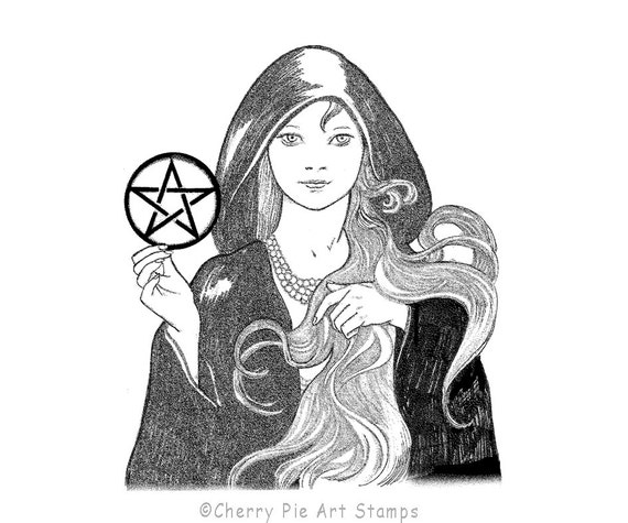 Cloaked WITCH with pentacle- CLING rubber STAMP by Cherry Pie Art Stamps