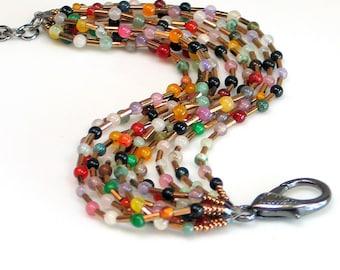 Mixed Gemstone Beaded Bracelet, Multi Strand Vintage Bugle Beads, Bright Cuff with Large Clasp, Bohemian, Bold Statement, Artisan Original